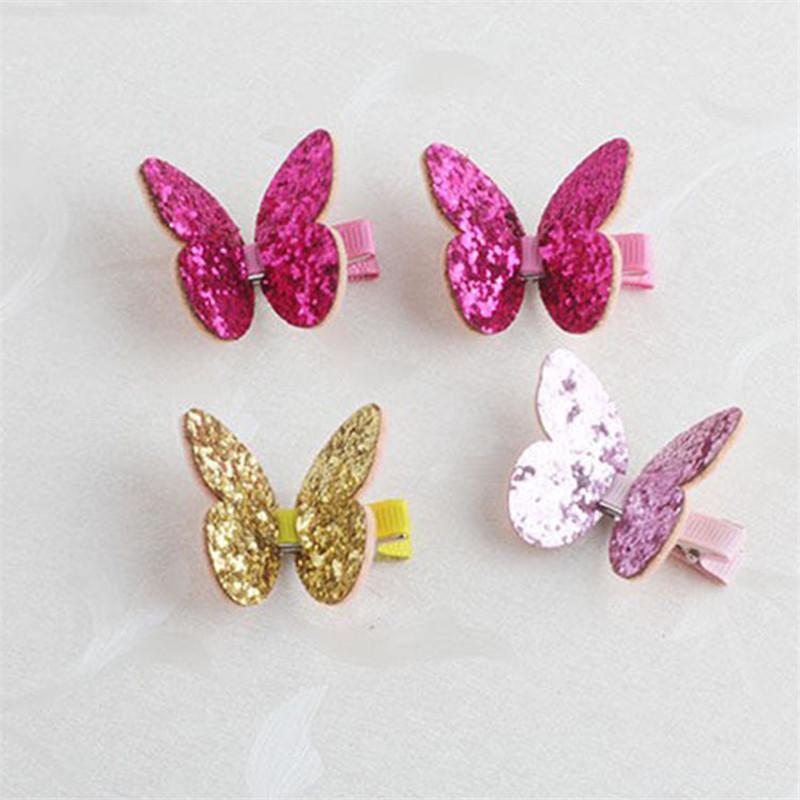Clips 1pair Creative Kids pelo de la mariposa del brillo brillante Lentejuelas de tela de pelo Barrettes Accesorios centelleo del Paillette horquillas