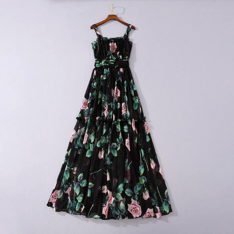 Avrupa ve Amerikan kadın giyim 2020 yaz yeni stil kolsuz gül baskı condo kemer moda pileli elbise
