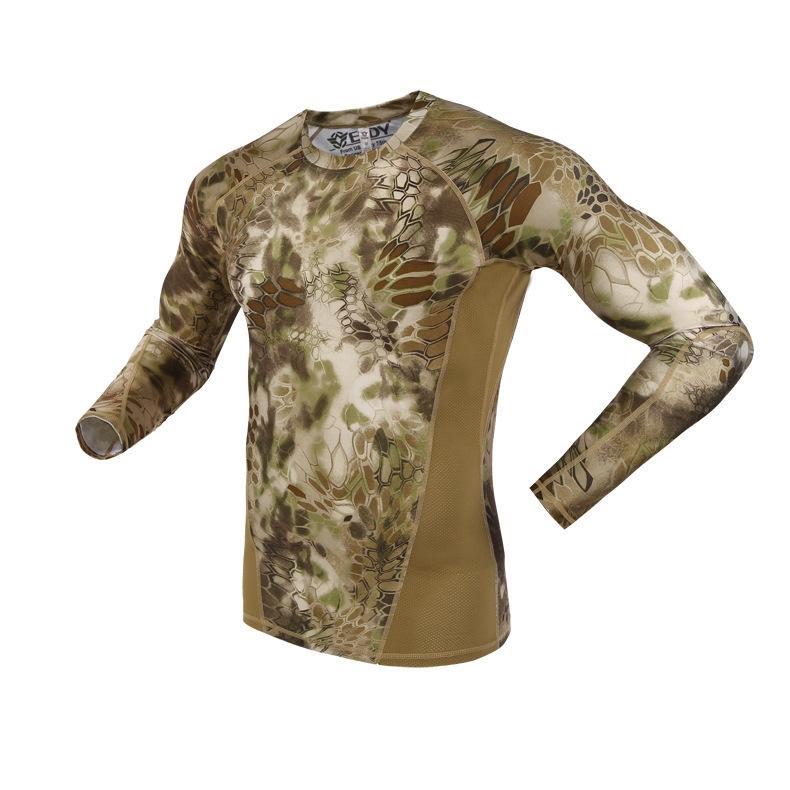 Men Women Quick Drying High Elastic T Shirt Tactical Military Training Camouflage Breathable Clothes Spring Underwear Tactic Top