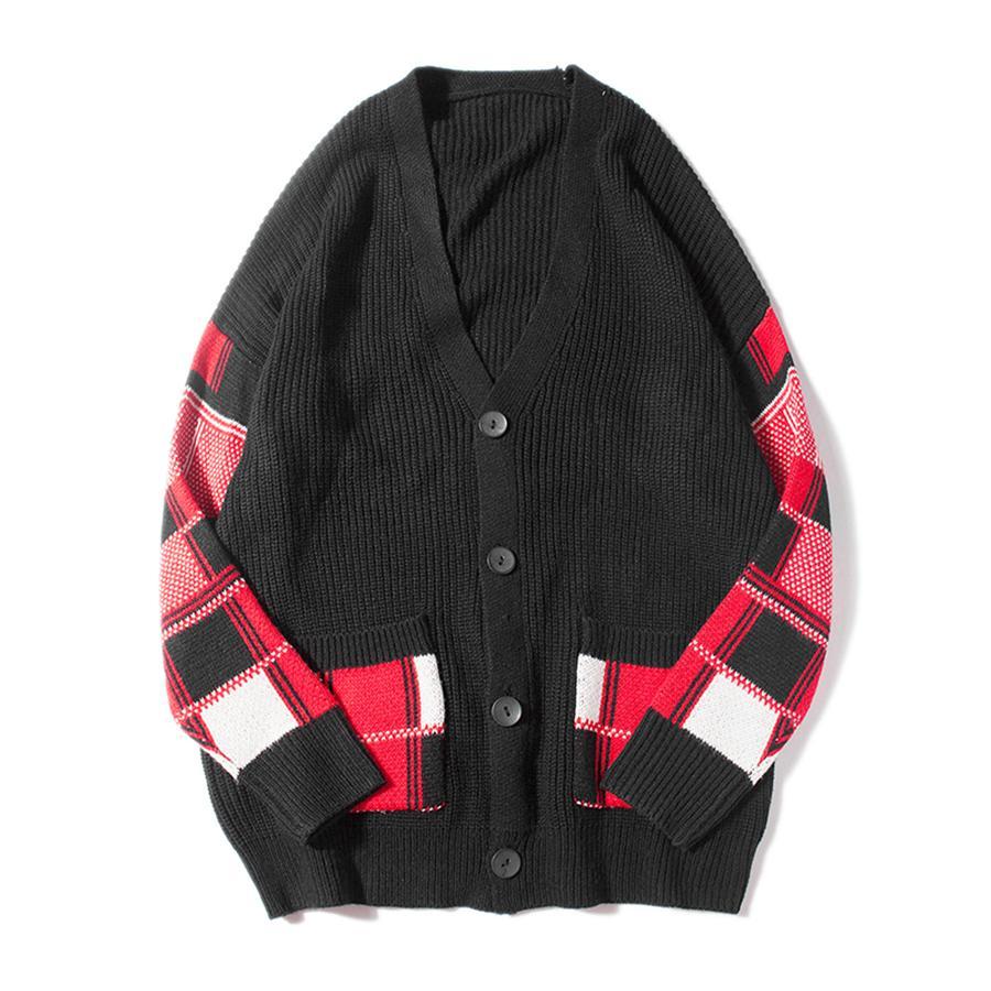 Controllare Button Cardigan maschile oversize sciolti Streetwear Maglione Uomini Harajuku cappotto di cachemire Modis High Street v collo Pull Homme Noel