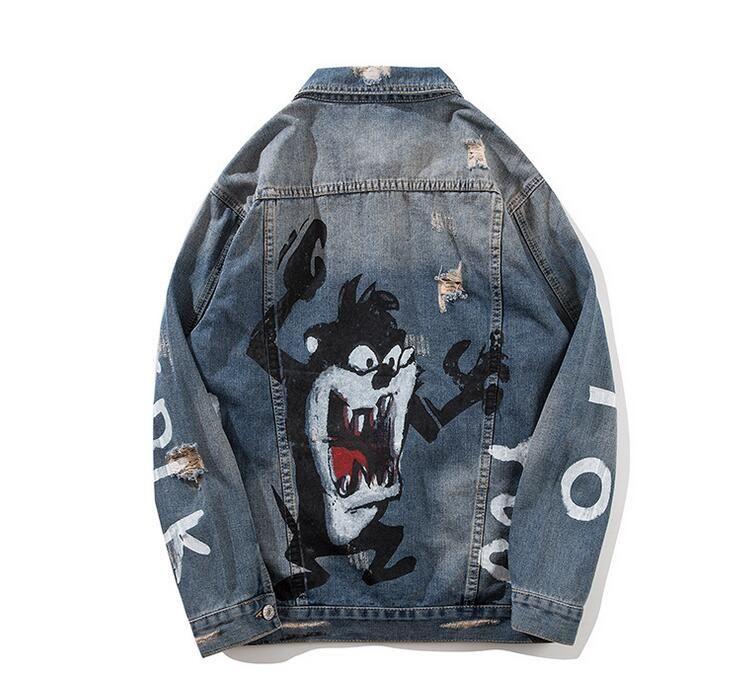 Mens Cartoon Prited 데님 재킷 Streetwear 패션 디자이너 힙합 캐주얼 패치 워크 찢어진 고민 펑크 록 청바지 코트 Outwear FY