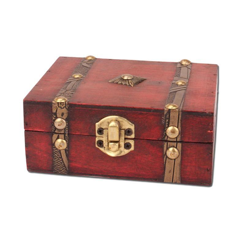 Organisateur de coffret de rangement pour bijoux avec coffre à trésor vintage en bois