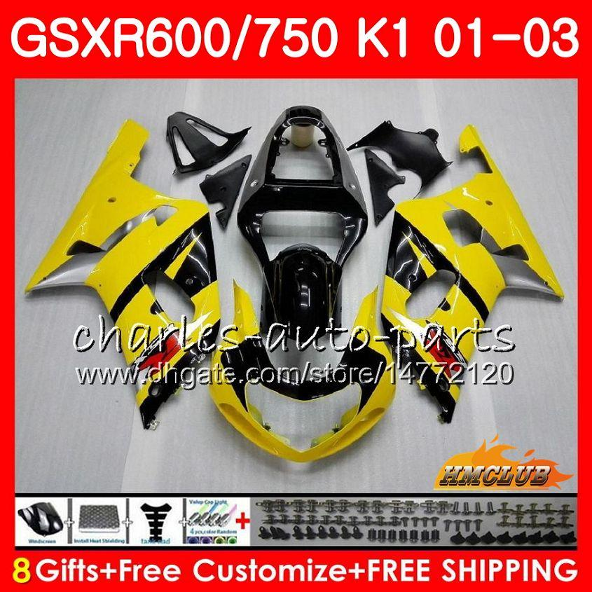 8Gifts corpo Stock giallo per SUZUKI GSXR750 GSXR 600 750 GSXR600 01 02 03 4HC.1 GSXR600 K1 GSX R750 GSXR750 2001 2002 2003 carenatura kit