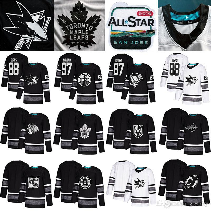 2019 All Star Game camisas de hóquei San Jose Tubarões Edmonton Oilers Vegas Cavaleiros de Ouro Toronto Maple Leafs Camisas de Hóquei