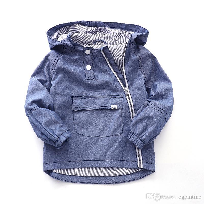 Mode Mit Kapuze Baumwolle Kind Mantel Baby Jungen Jacken Kinder Oberbekleidung Reißverschluss Große Tasche für Höhe von 90-135 cm