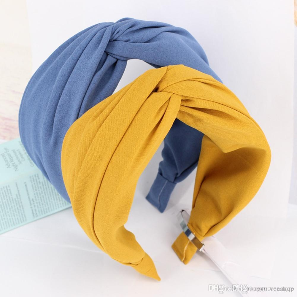 Women Headband Twist Hairband Bow Knot Cross Tie Wide Headwear Hair Band Hoop Yc