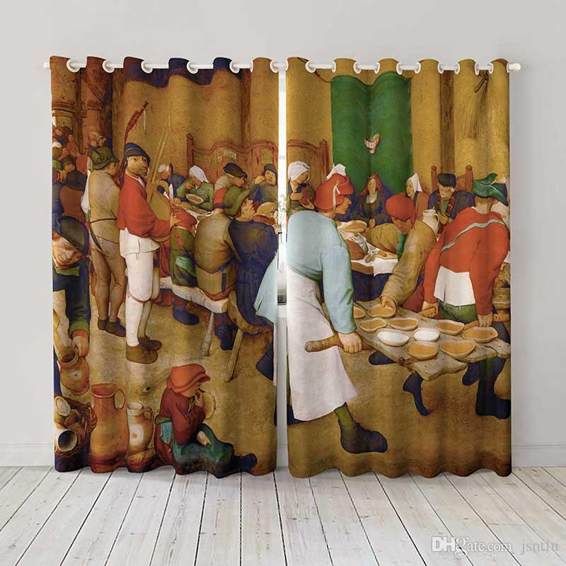 Personality Custom curtain world famous painting brueghel the wedding feast drapes Extra wide Blackout curtain party decoration background