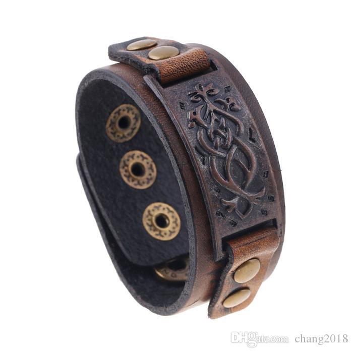 11 styles Vintage Braided Leather Bracelet Brown Punk Wide Cuff Hollow Bracelet Bangles For Men Women Jewelry Friendship Gift pksp6-7