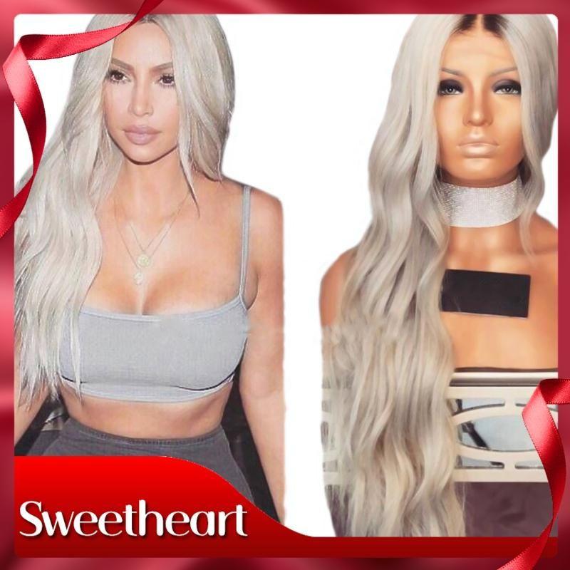 Frente peluca sintética de Cosplay Moda Belleza gris del cordón con el bebé calor del pelo resistente peluca 180% de densidad de 26 pulgadas de largo Ombre pelucas para mujeres Negro