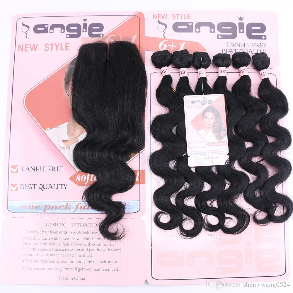 Бесплатная доставка объемная волна человеческих волос плетение пучки 18 дюймов 6 шт. полная голова носить натуральный цвет черный человеческих волос плетение