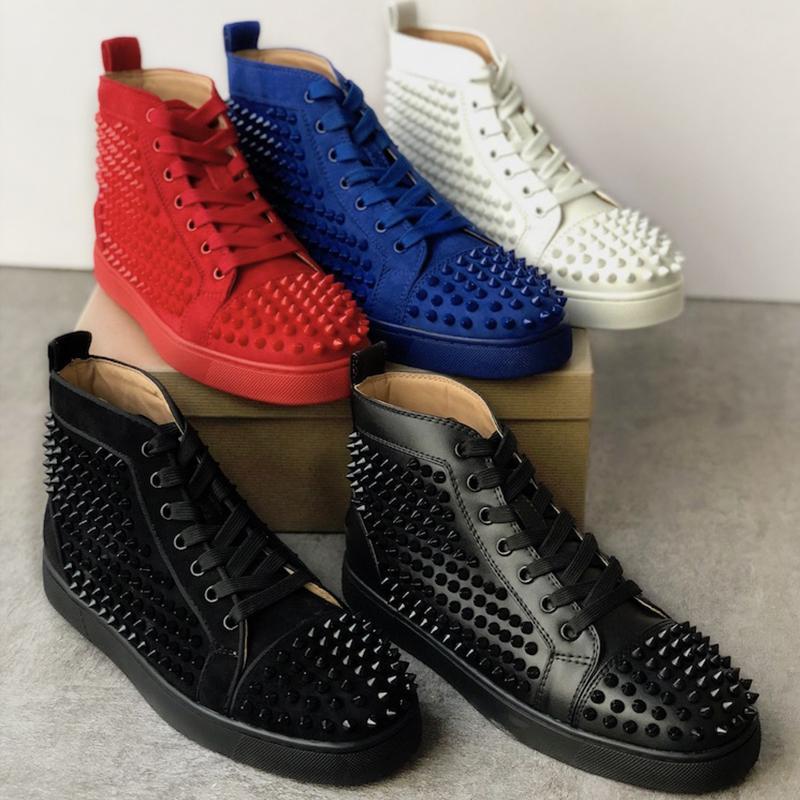 Acquista 2019 Christian Louboutin Migliori Scarpe Firmate Studded Spikes Red Bottom Sneakers High Top Pik Pik Uomo A Spillo Scarpe Nere In Pelle