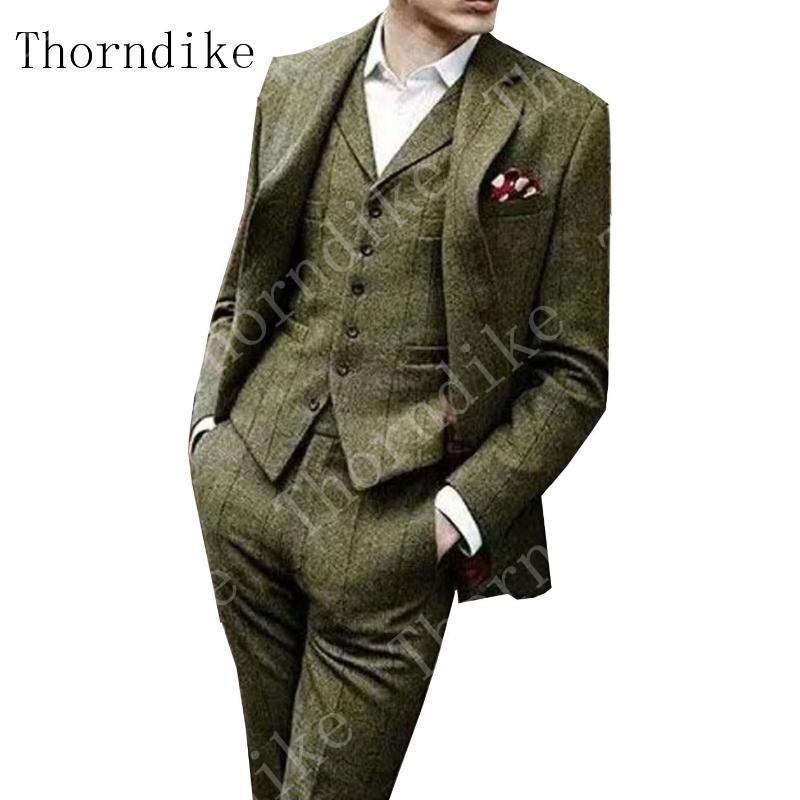 Thorndike Terno do padrão espinha de peixe Tweed Green Men Slim Fit 3 peça verificado Formal Suit Tuxedo Notch lapela (Blazer + colete + calça)