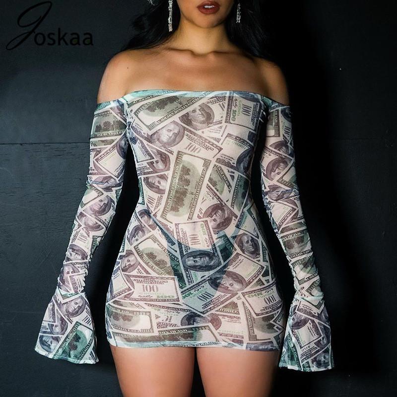 Joskaa stampare moneta Flare manica sexy fuori dalla spalla del mini vestito di Donne New 2020 Mesh See Through Bodycon Abiti da Discoteca