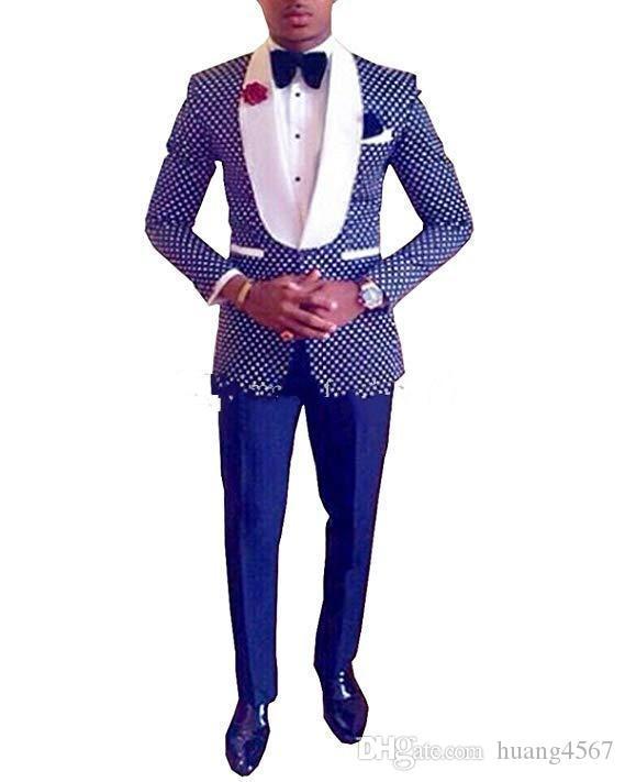 최신 원 버튼 블루 폴카 도트 웨딩 신랑 턱시도 어깨 걸이 옷깃 신랑 들러리 저녁 드레스 블레이저 정장 (자켓 + 바지 + 넥타이) 257