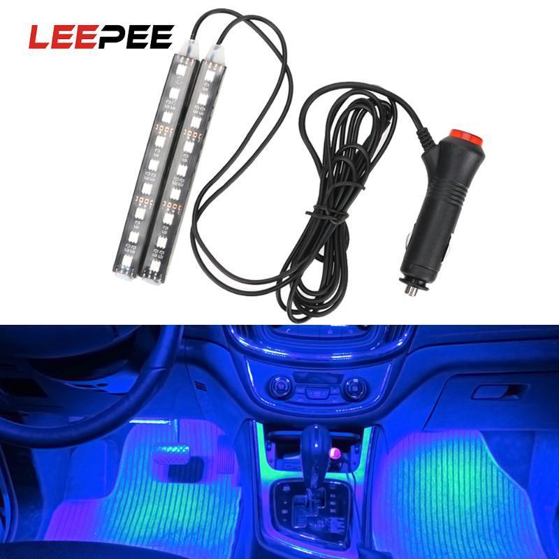 LEEPEE 2pcs Car LED Dash Floor Foot Strip Light Cigarette Lighter Adapter Auto Atmosphere Lamps Auto Interior Decorative Lamp