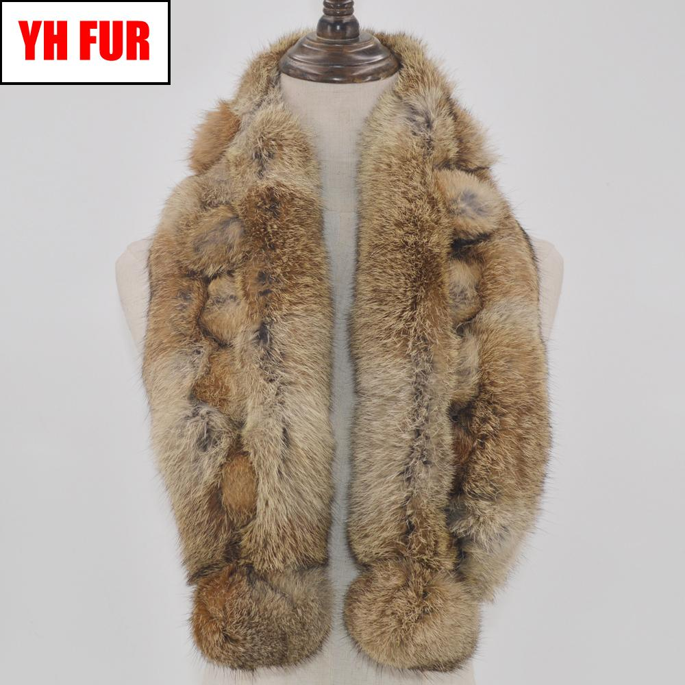 2019 Hot Sale Winter Real Rabbit Fur Scarf Women Natural Real Rabbit Fur Ring Scarves 2 Balls Genuine Rabbit Fur Neckerchief MX191022