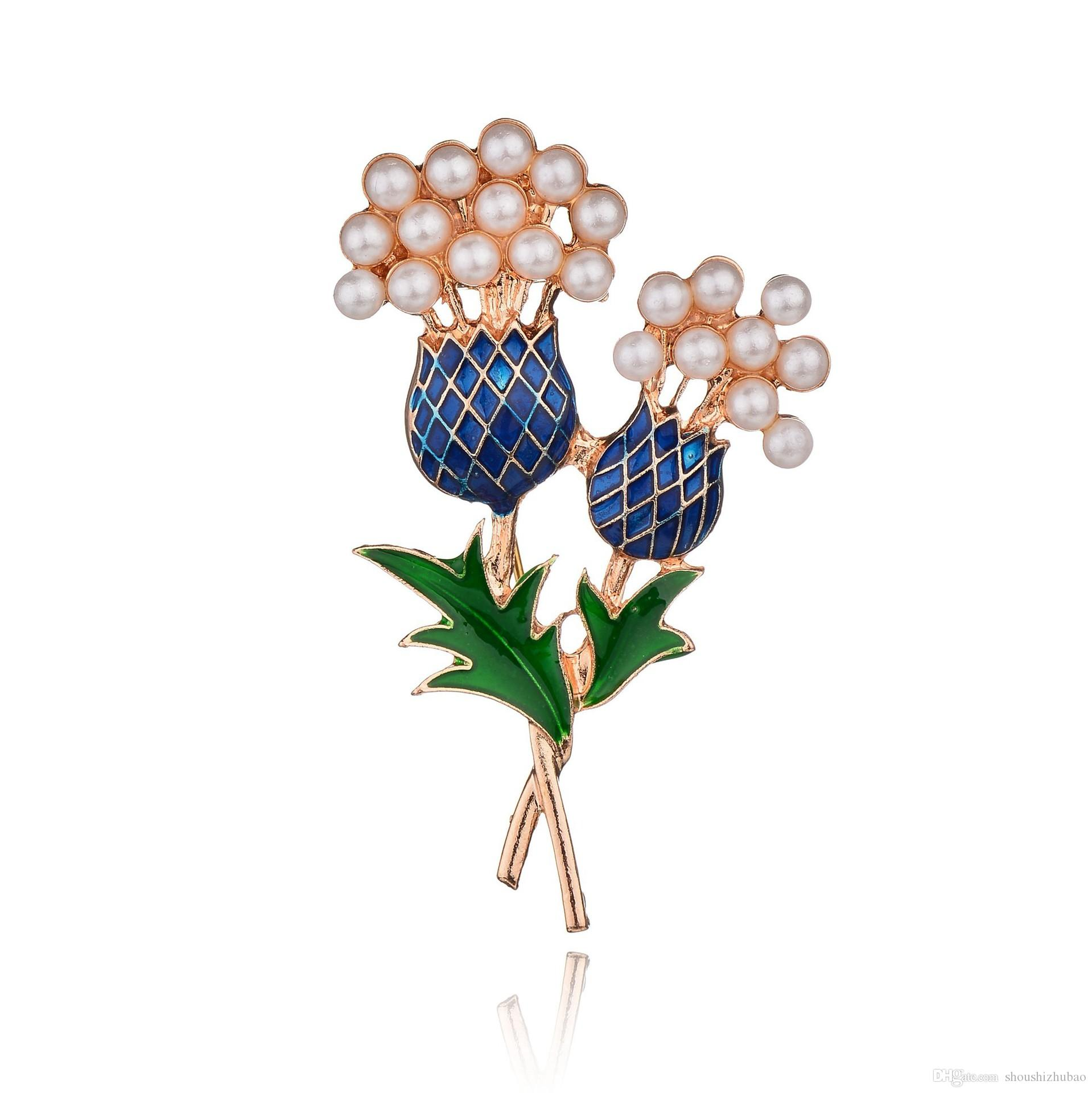 Real Shooting Fashion Brand Jewelry Painted Bouquet Brooches For Women Simulated Pearl Pineapple Tree Flowers Brooch Pins b147