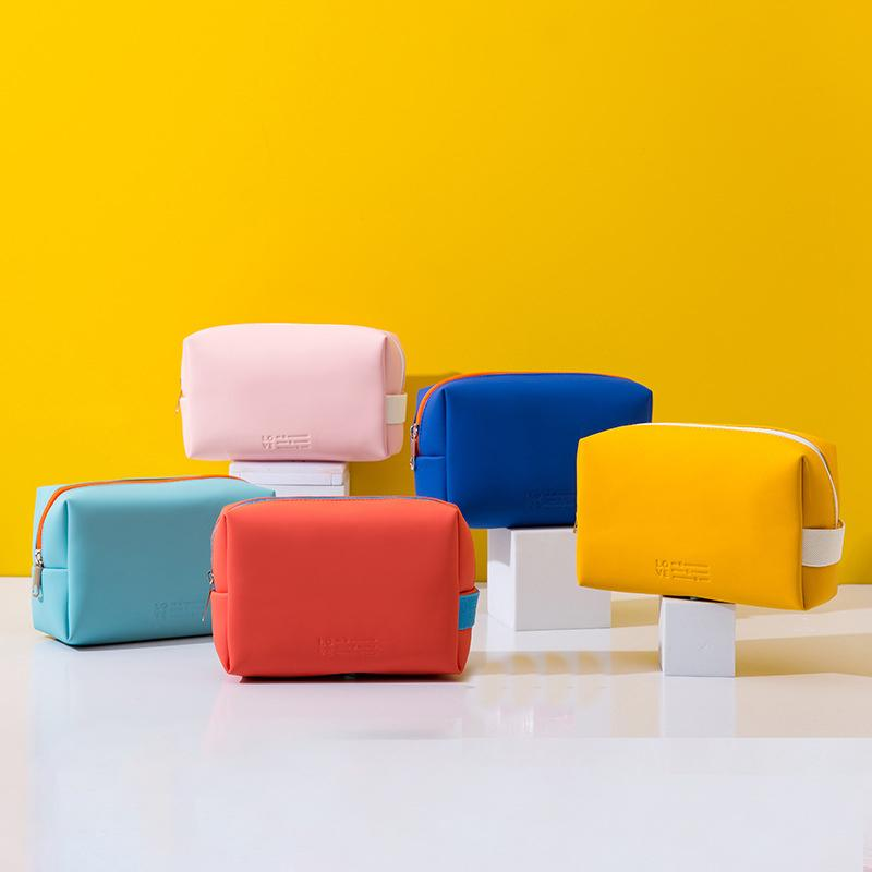 New Cosmetic Bag Makeup Case Women Zipper Make Up Handbag Organizer Storage Pouch Toiletry Wash Bags PU Leather Bags waterproof