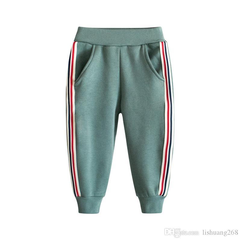 2019 Printemps Automne Coton Bébés Garçons Filles Casual Pantalon De Sport Rayé Enfants Pantalon De Jogging Pantalon Taille Haute Pantalon En Molleton Chaud Adolescence