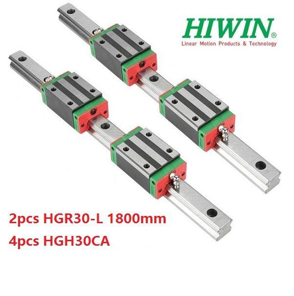 2 adet Orijinal Yeni HIWIN HGR30-1800mm lineer kılavuz / ray + 4 adet HGH30CA cnc router parçaları için doğrusal dar bloklar