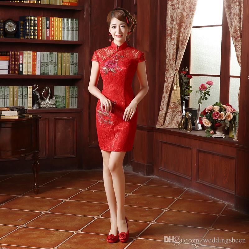 فستان العروس الجديدة أحمر قصير شيونغسام النمط الصيني تحسين الأزياء شيونغسام الملابس نخب
