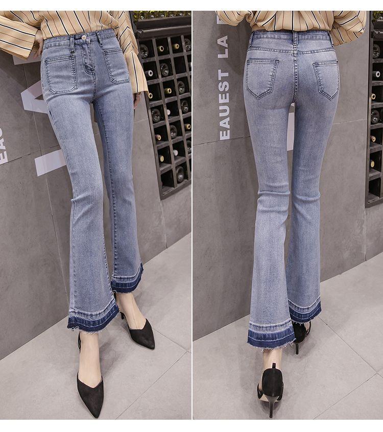 JinYiLai Azul Cinzento Ms calças largas patas