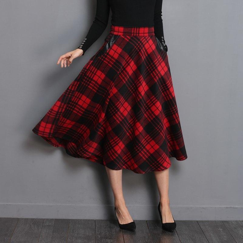 Неофил Англия стиль красный плед Высокая Талия миди юбки шерстяные плюс размер 3XL линия плиссированные 2020 зимние женские юбки из шотландки S1735