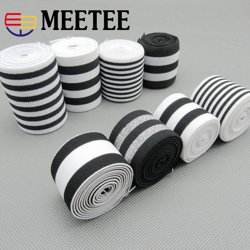 5Yards White Black Strip Nylon Elastic Bands High Tenacity Rubber Bands Clothes Lace Trim Waist Band Garment Trouser Accessories