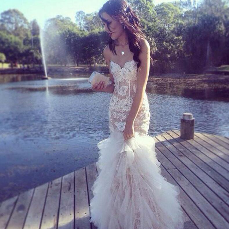 Onur Elbise Uzun Ruffles Tül Abiye Giyim Parti Of 2019 Sweetehart Gelinlik Modelleri Dantel Aplike Kolsuz Hizmetçi