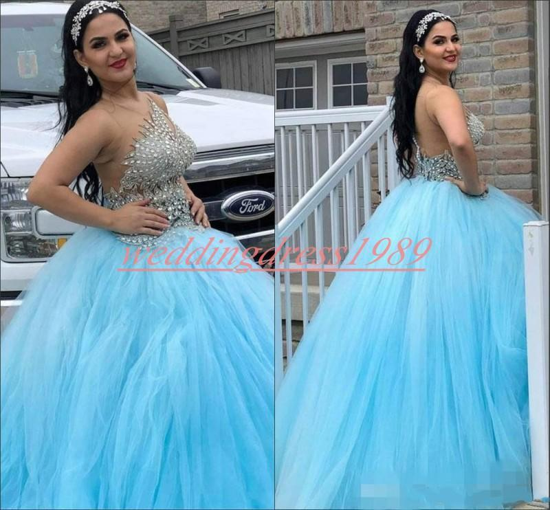 Luxo cristal frisada Sheer Quinceanera Dresses Bola Plus Size Tulle azul da menina Prom Party Dress Juniors formal Vestidos Custom Made