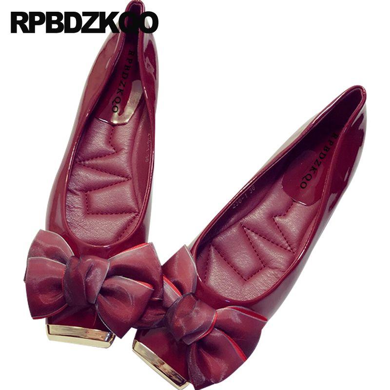 Sapatos de metal toe quadrado dobrável ballet flats vinho tinto preto mulheres designer de deslizamento em arco bowtie ballerina de couro japonês