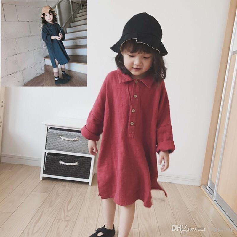 Spring New INS Toddler Little Girls Tatting Cotton Dresses Thin Fall Long Sleeve Front Buttons Designs Vintage Children Girls Casual Dress