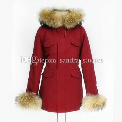 Wholesales price for good quality Women's warm cashmere velvet Liner padded cotton Long Parkas hooded and 2 cuff with Raccoon fur collar