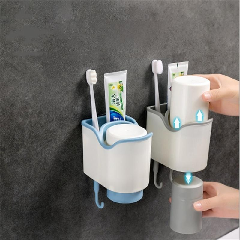 Plastic Toothbrush Holder Toothpaste Storage Rack Shaver Tooth Brush Dispenser