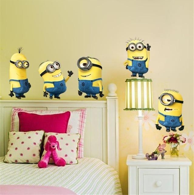 % minions movie wall sticker for kids room home decorations diy pvc cartoon decals children gift 3d mural arts posters wallpaper D19011702