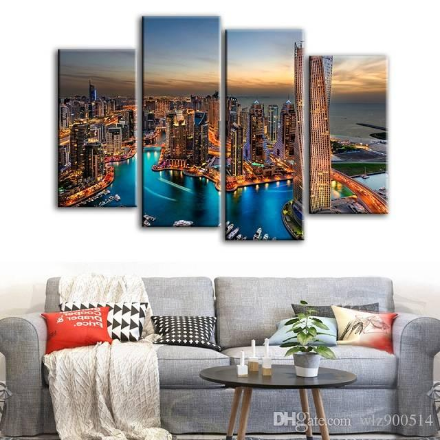 4pcs/set Unframed Dubai Bright Lights Print On Canvas Wall Art Picture For Home and Living Room Decor