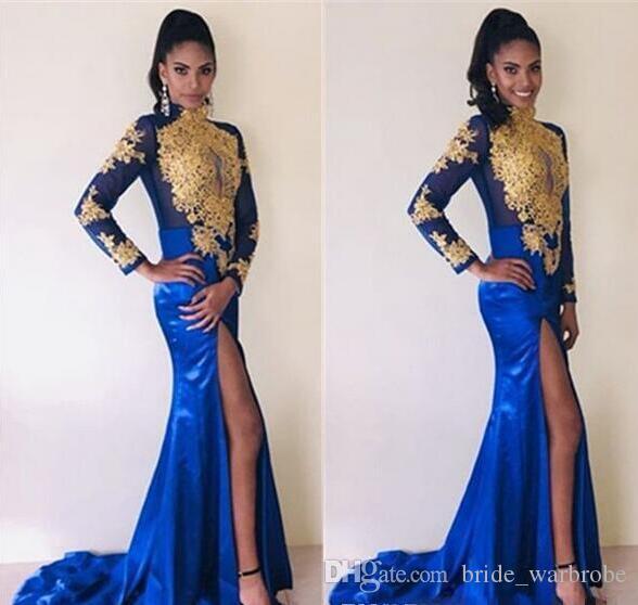 2019 africano sereia vestidos de noite azul royal árabes vestidos de noite manga comprida com apliques de ouro alta dividir sexy vestidos de baile plus size