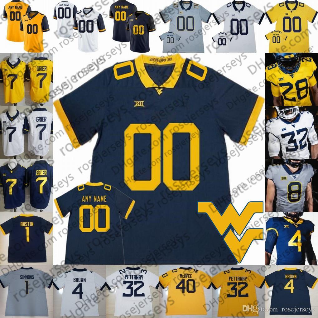 2021 Custom West Virginia Mountaineers NEW WVU Football White Blue ...