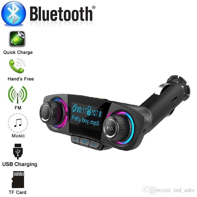 Sem fio Bluetooth Car TF Mp3 Player Transmissores FM BT06 Adaptador Radio Com Dual USB Charger Kit Car Handsfree Com grande tela LED