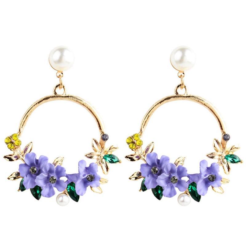 Boucles d'oreilles à la mode mignon fleur rose pour les femmes filles Bijoux Femme strass Or Goutte Cercle ronde en métal Boucles d'oreilles Cadeaux Brincos