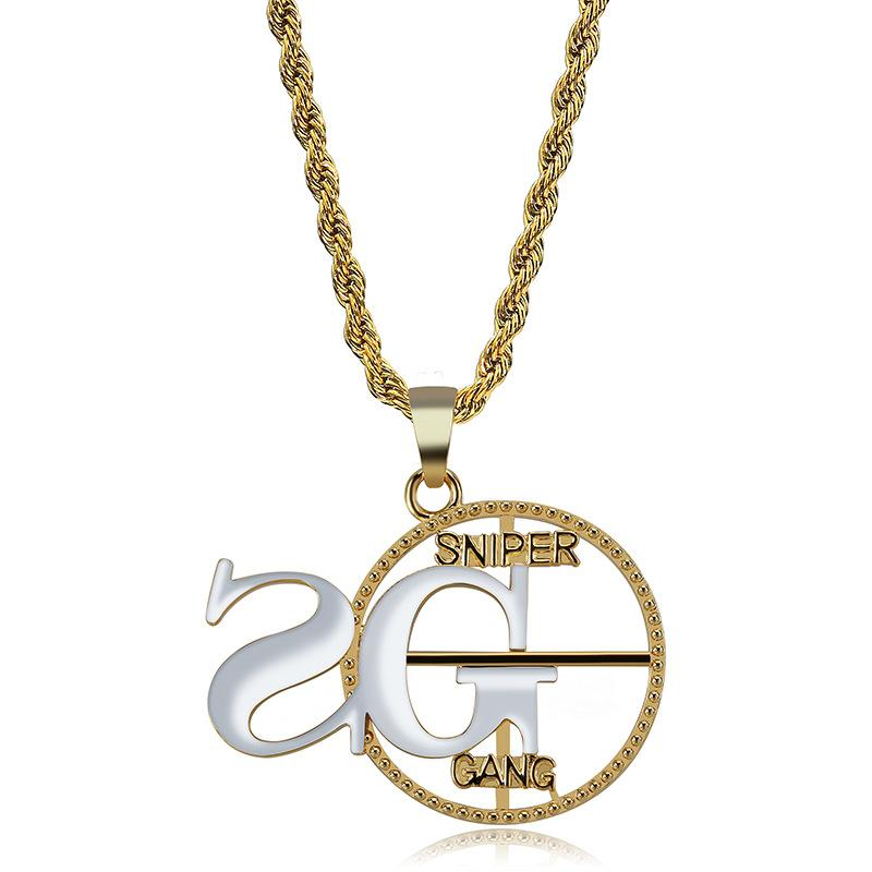 2G Sniper Gang Pendant Necklace Men Hip Hop Jewelry Cool Ice Out Gold Plated Hiphop Necklace With Pendants
