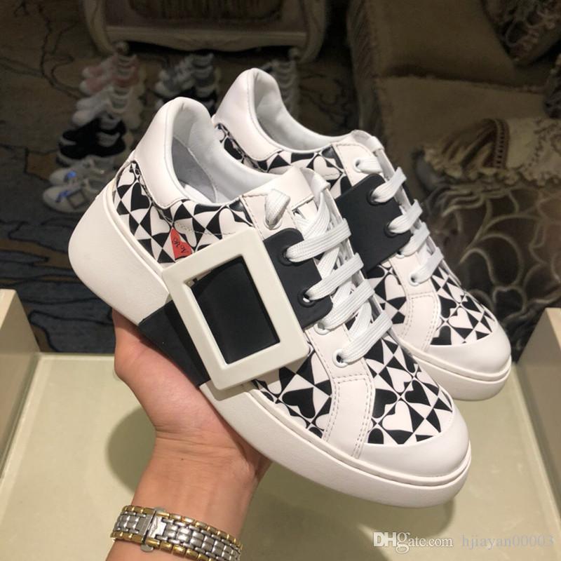Die neuesten heißen Frauen Ledersportschuh Art und Weise Luxus-Designer-Plattform beiläufige Schuhe Kombination Sohlen hinzufügen Sportschuh Sport mh191007