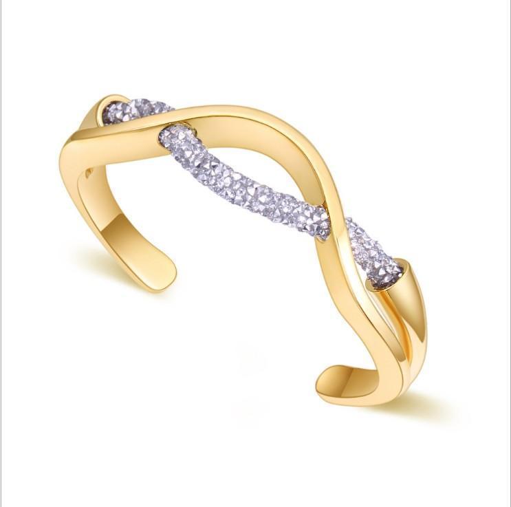Vision Fashion Trendy bracciali con oro reale placcato piena corda cristallo modello di bracciale bangle in acciaio n. NE955