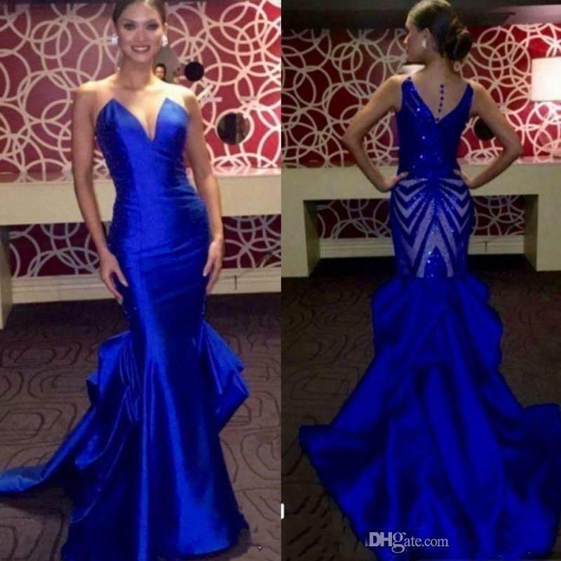 Вечерние платья Длинные 2020 атласная Русалка Пром платья Назад Sequined Элегантный Royal Blue Формальное Pageant платья партии