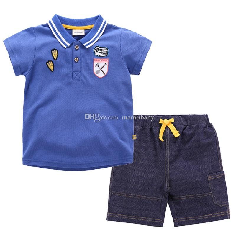 crianças roupas de grife meninos verão nova T-shirt de manga curta roupas de algodão infantil POLO duas peças de lapela infantil 2019 crianças