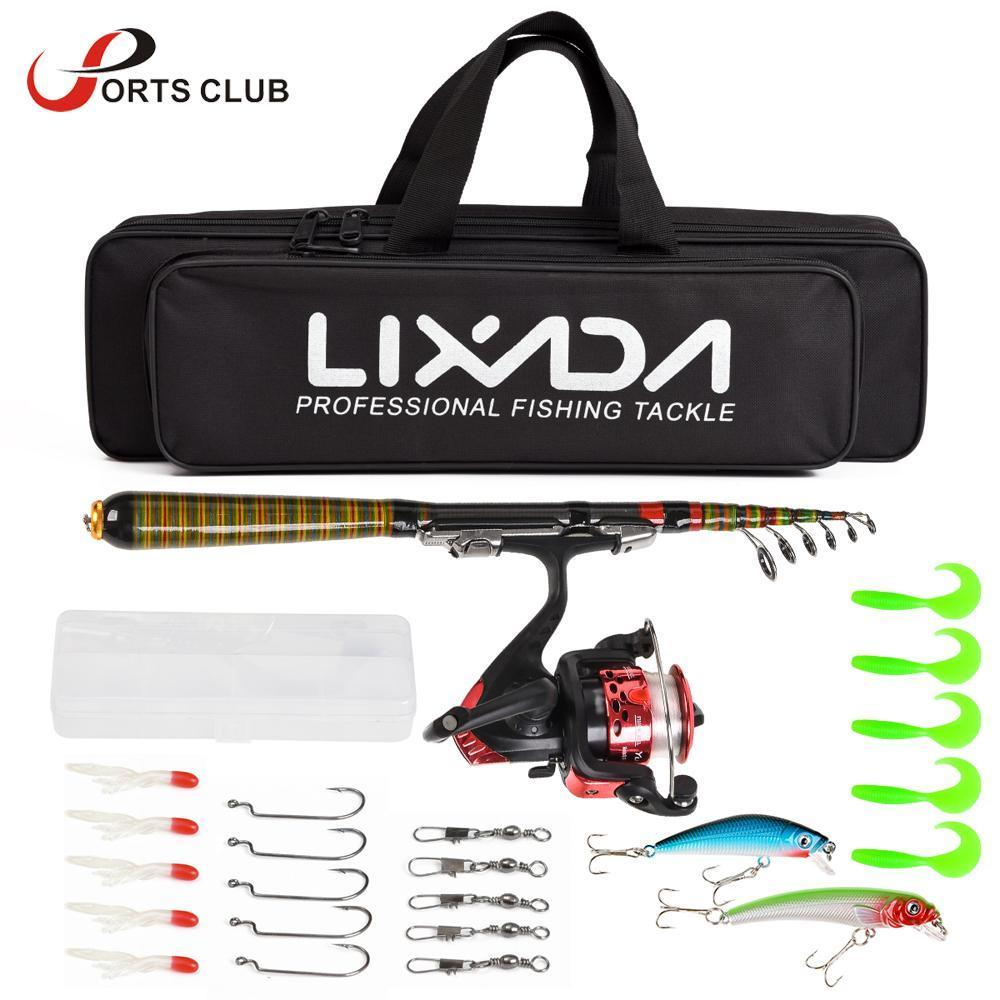 Lixada Telescopic Fishing Lure Rod Reel Combo Full Kit Carbon Fiber Rod Spinning Reel Lure with Bag Case for Travel Pesca