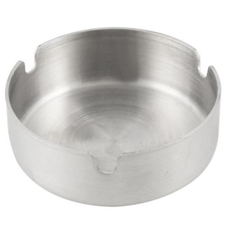 Mayitr 1pc Gümüş Dayanıklı Sigara Küllük Paslanmaz Çelik Yuvarlak küllük 8 cm Çap T200307
