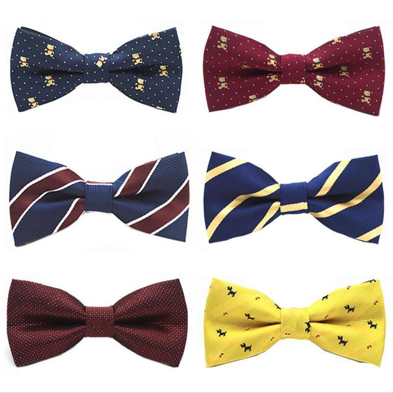 fashion children butterfly bowknot cartoon strip bow tie 10*5cm adjustable elastic rope neckwear blue yellow red 5pcs/lot