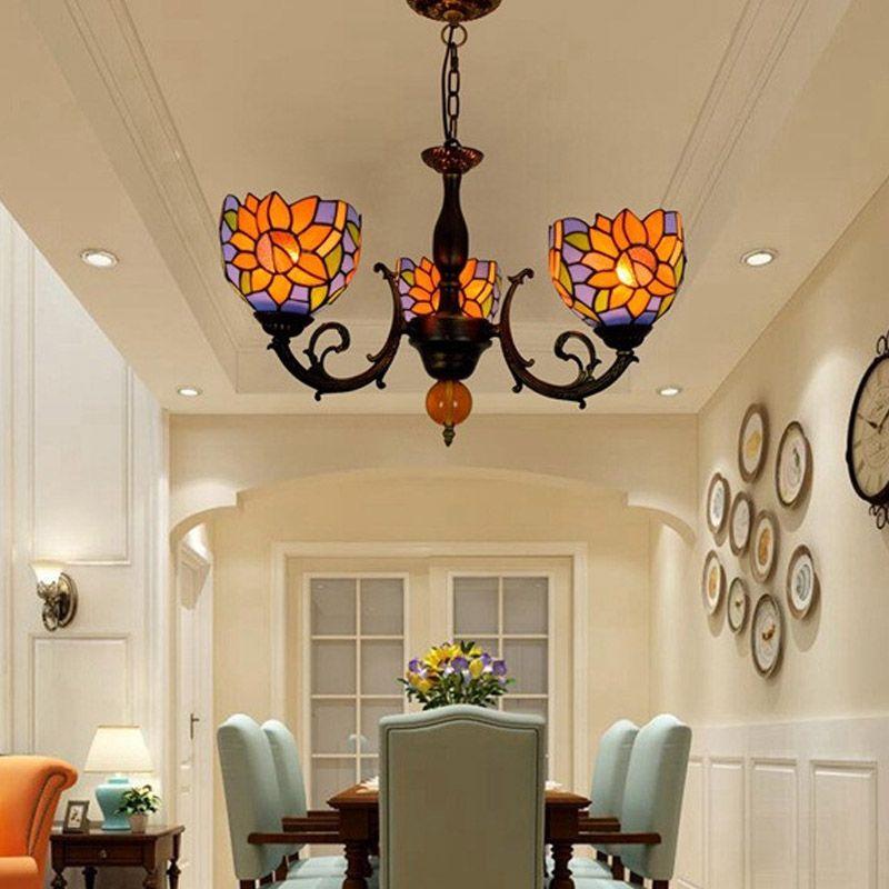 الملون تيفاني مصباح زجاج زهرة الشمس الأزرق ثلاث سنوات برئاسة الثريا غرفة نوم الإضاءة ديكور غرفة الطعام قلادة TF007