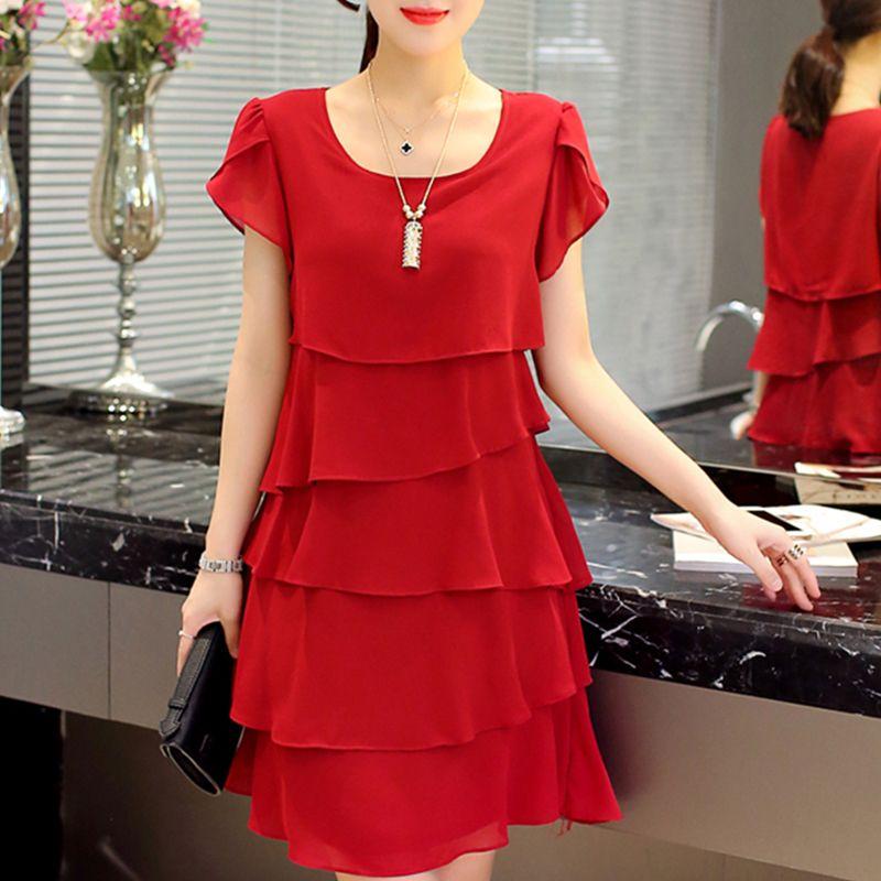 Verão vestido de chiffon The New Mulheres Moda Plus Size 5XL solto Cascading Ruffle Red Dresses Causal das senhoras Cocktail elegante da festa